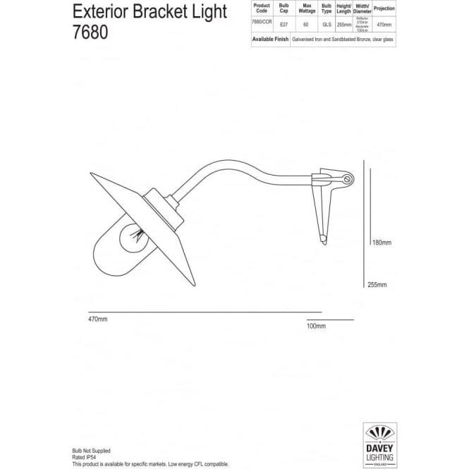 Davey Lighting 7680 Exterior Bracket Light, Canted Arm, Corner Fork, Galvanised, Frosted
