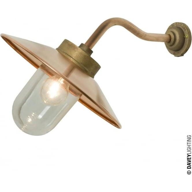 Davey Lighting 7680 Exterior Bracket Light, Canted Arm, Round Base, Gunmetal, Clear