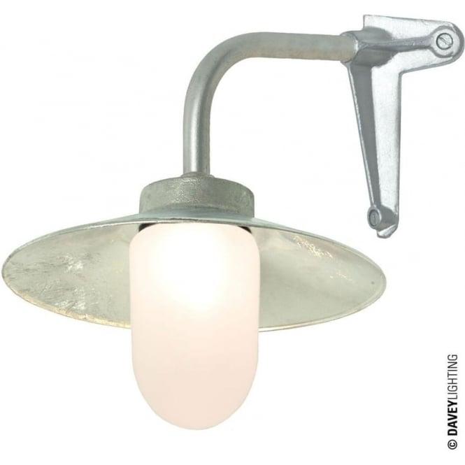 Davey Lighting 7680 Exterior Bracket Light, Right Angle, Corner Fork, Galvanised, Frosted