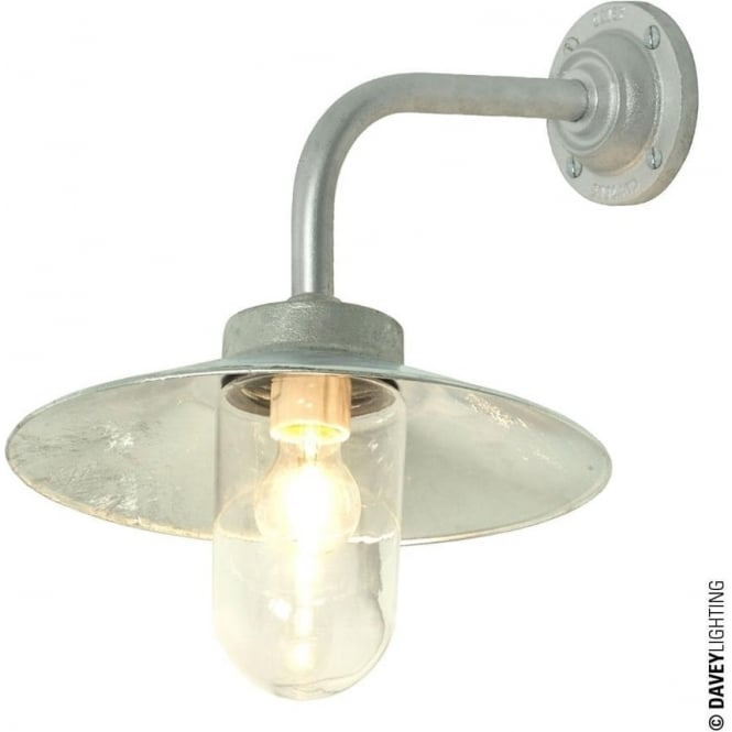 Davey Lighting 7680 Exterior Bracket Light, Right Angle, Round Base, Galvanised, Clear