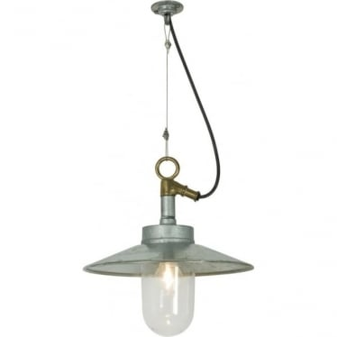7680 Exterior Well Glass Pendant, with Visor, Galvanised, Clear, IP44