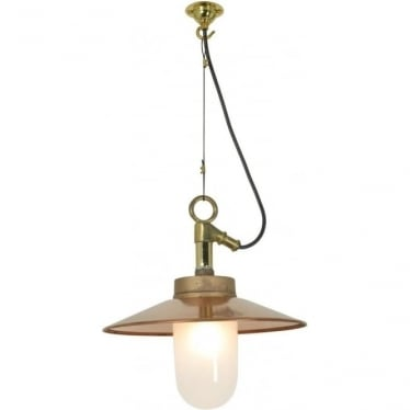 7680 Exterior Well Glass Pendant, with Visor, Gunmetal, Frosted, IP44
