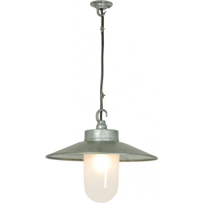 Davey Lighting 7680 Well Glass Pendant, With Visor, Galvanised, Frosted Glass