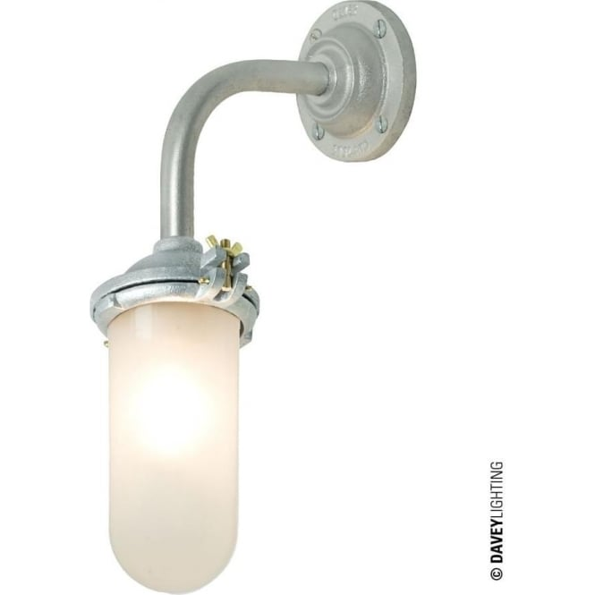 Davey Lighting 7684 Exterior Bracket Light, No Reflector, Right Angle, Round Base, Galvanised, Frosted