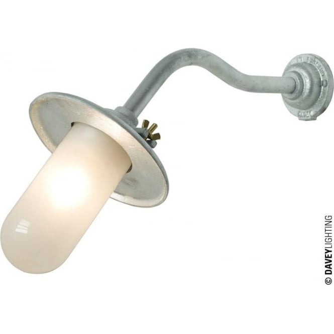 Davey Lighting 7685 Exterior Bracket Light, Reflector, Canted, Round Base, Galvanised, Frosted