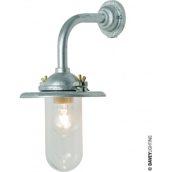 Davey Lighting 7685 Exterior Bracket Light, Reflector, Right Angle Arm, Round Base, Galvanised, Clear