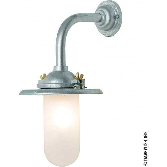 Davey Lighting 7685 Exterior Bracket Light, Reflector, Right Angle Arm, Round Base, Galvanised, Frosted