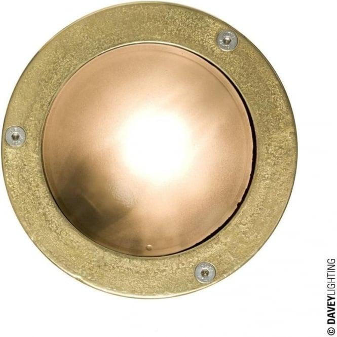 Davey Lighting 8034 Miniature Round Bulkhead, Plain Bezel, G9, Brass