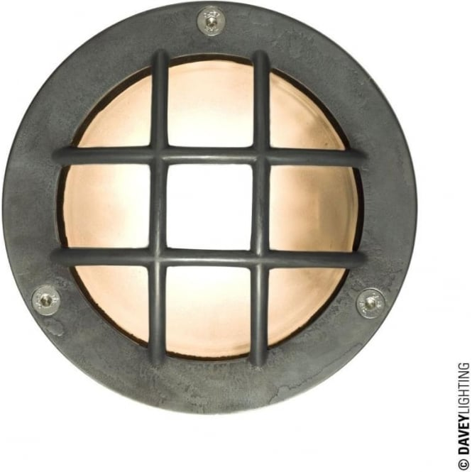Davey Lighting 8038 Miniature Round Bulkhead, Cross Guard, G9, Weathered Brass