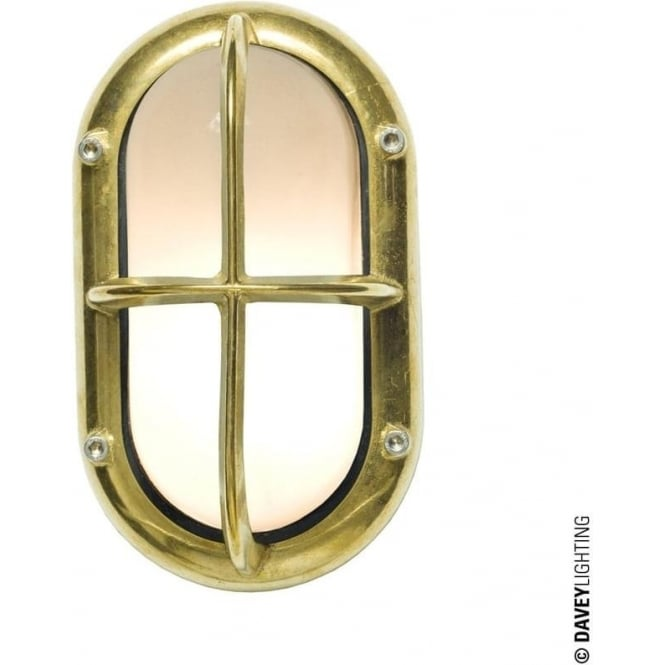 Davey Lighting 8123 Oval Bulkhead, Guarded, Small, Brass, E27