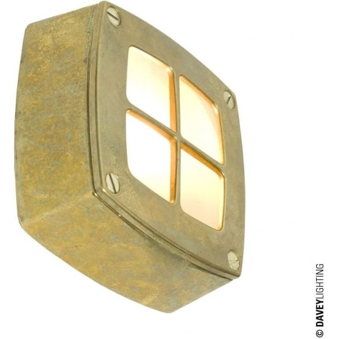 Davey Lighting 8140 Wall, Ceiling or Step Light, Square, Cross Guard, Brass