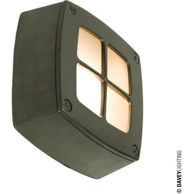 Davey Lighting 8140 Wall, Ceiling or Step Light, Square, Cross Guard, Weathered Brass
