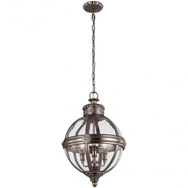 Adams 3 light Pendant Chandelier Antique Nickel