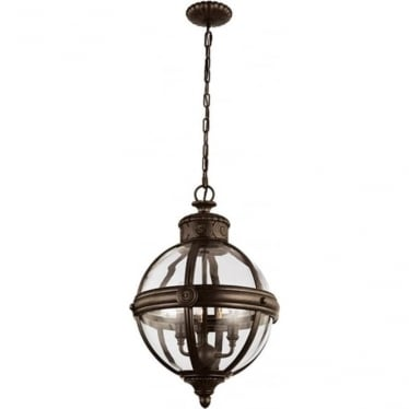 Adams 3 light Pendant Chandelier British Bronze