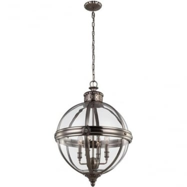 Adams 4 light Pendant Chandelier Antique Nickel