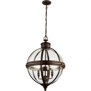 Adams 4 light Pendant Chandelier British Bronze