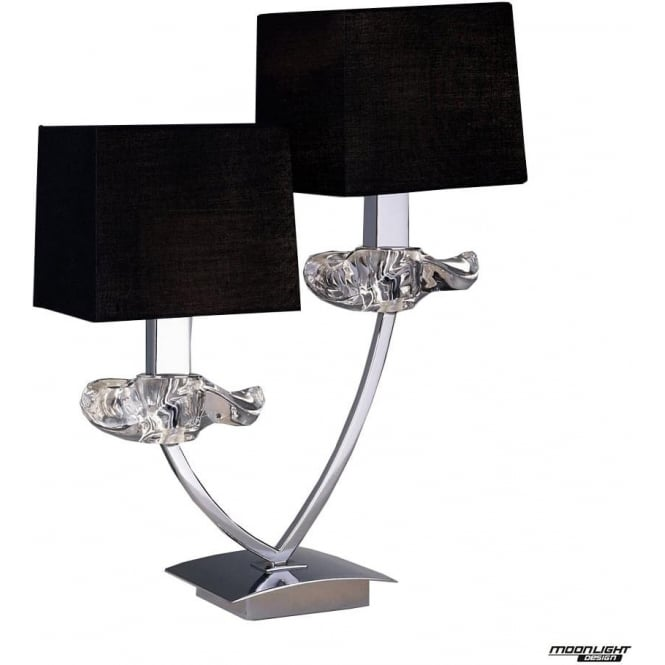 Mantra Akira 2 Light Table Lamp with Black Shades Polished Chrome