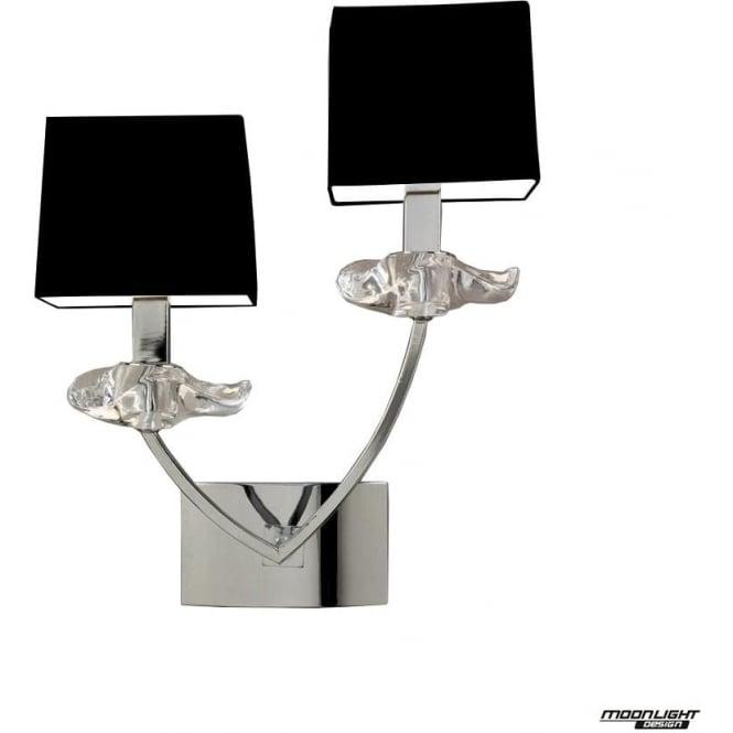 Mantra Akira 2 Light Wall Lamp with Black Shades Polished Chrome