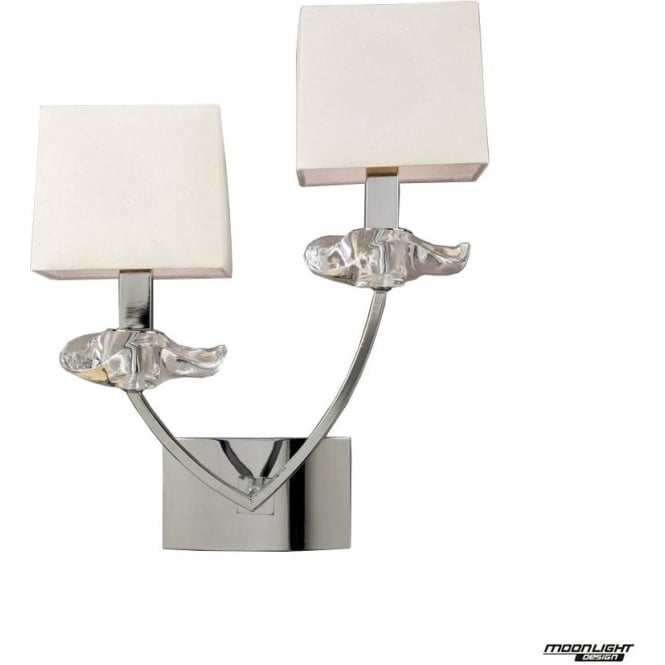Mantra Akira 2 Light Wall Lamp with Cream Shades Polished Chrome