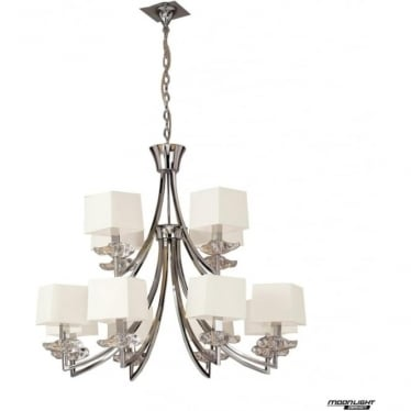 Akira 2 Tier Pendant 12 Light with Cream Shades Polished Chrome