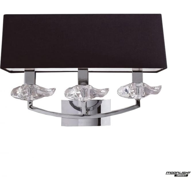 Mantra Akira 3 Light Wall Fitting Switched with Black Shade Polished Chrome