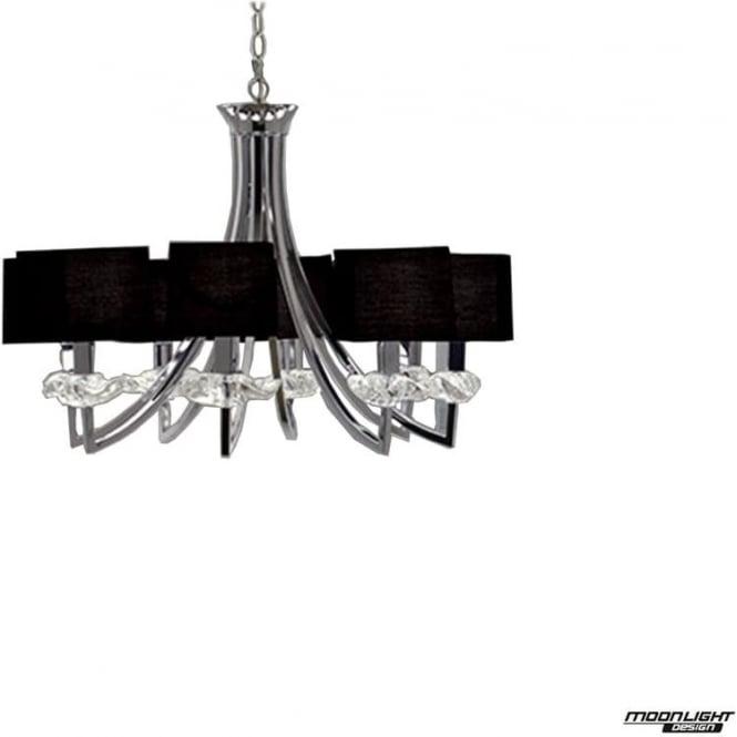 Mantra Akira 8 Light Pendant with Black Shades Polished Chrome