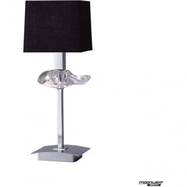 Akira Single Light Table Lamp with Black Shade Polished Chrome