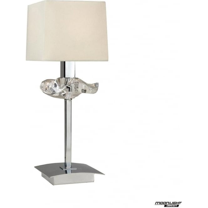 Mantra Akira Single Light Table Lamp with Cream Shade Polished Chrome