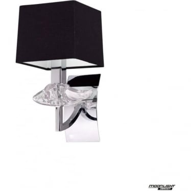 Akira Single Light Wall Fitting Switched with Black Shade Polished Chrome