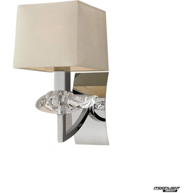 Mantra Akira Single Light Wall Fitting Switched with Cream Shade Polished Chrome