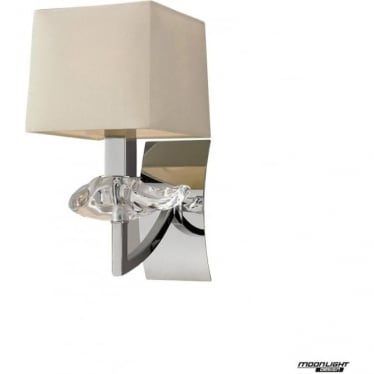 Akira Single Light Wall Fitting Switched with Cream Shade Polished Chrome