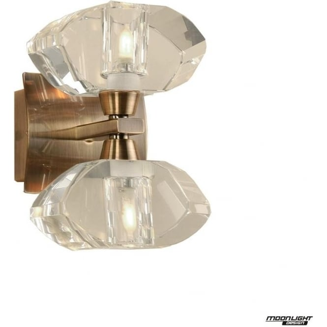 Mantra Alfa 2 Light Wall Fitting Antique Brass