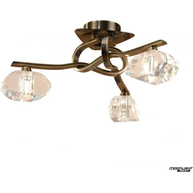 Mantra Alfa 3 Light Ceiling Fitting Antique Brass