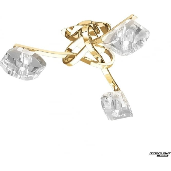 Mantra Alfa 3 Light Ceiling Fitting French Gold