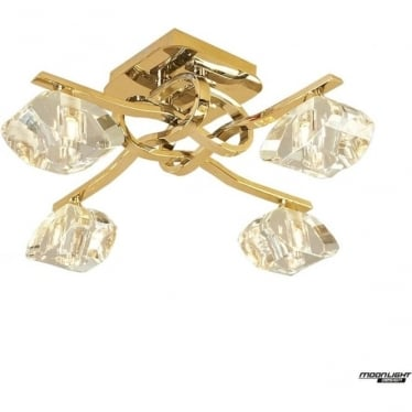 Alfa 4 Light Ceiling Fitting French Gold