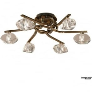 Alfa 6 Light Ceiling Fitting Antique Brass