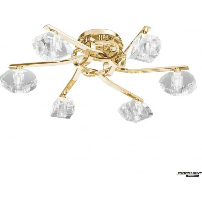Mantra Alfa 6 Light Ceiling Fitting French Gold