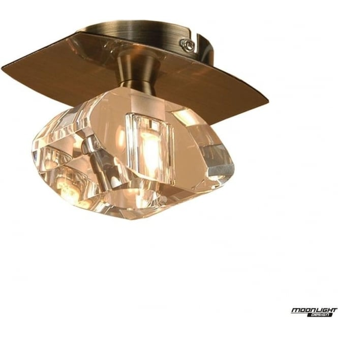 Mantra Alfa Single Light Ceiling Fitting Antique Brass