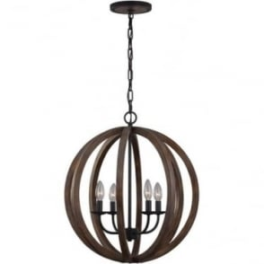 Allier 4 light Pendant Weathered Oak Wood/Antique Forged Iron