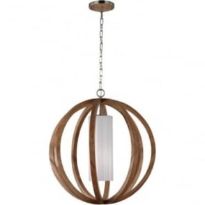 Allier Large Pendant Light Wood/Brushed Steel