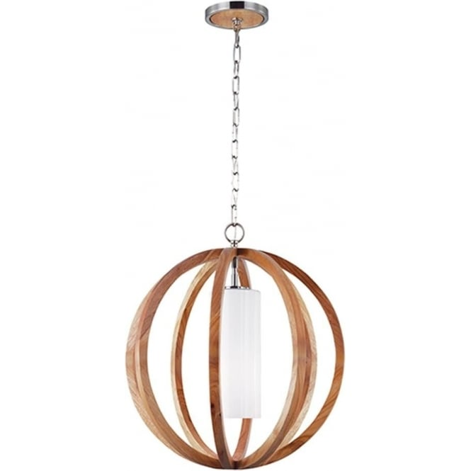 Feiss Allier Small Pendant Light Wood/Brushed Steel