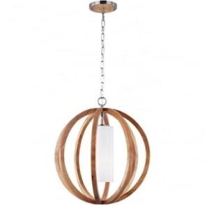 Allier Small Pendant Light Wood/Brushed Steel