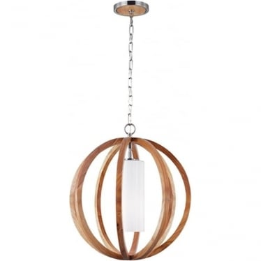 Allier Small Pendant Light Wood/Brushed Steel