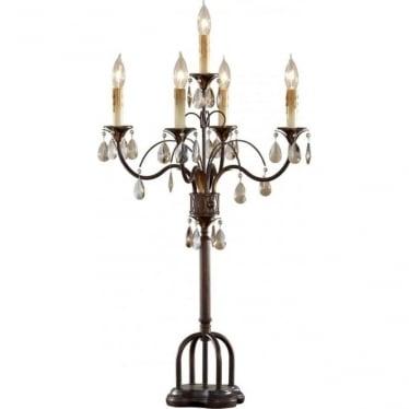 Anora Table Lamp in Palladio and Dark Walnut