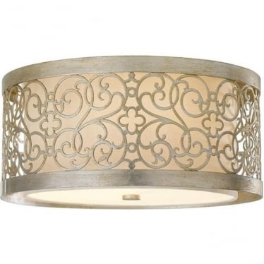 Arabesque Flush Mount Fitting Silver Leaf Patina
