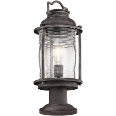 Ashland Bay Medium Pedestal Lantern Weathered Zinc