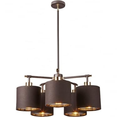 Balance 5 Light Chandelier Brown/Polished Brass