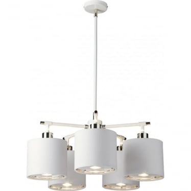 Balance 5 Light Chandelier White/Polished Nickel
