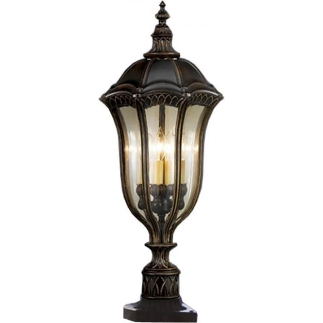 Feiss Baton Rouge Pedestal Lantern Walnut