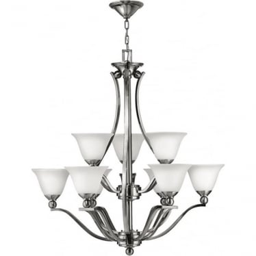 Bolla 9 light Chandelier Brushed Nickel